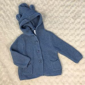 Baby Gap Blue Cardigan Sweater Bear Ears On Hood